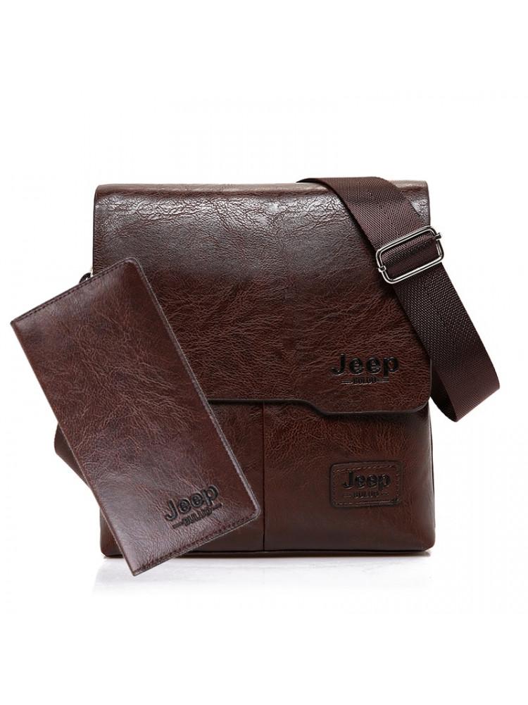 Кожаная сумка + портмоне (цвет: черный / корич..