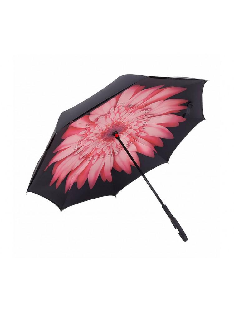 Зонт наоборот (Розовый цветок) UPBRELLA..