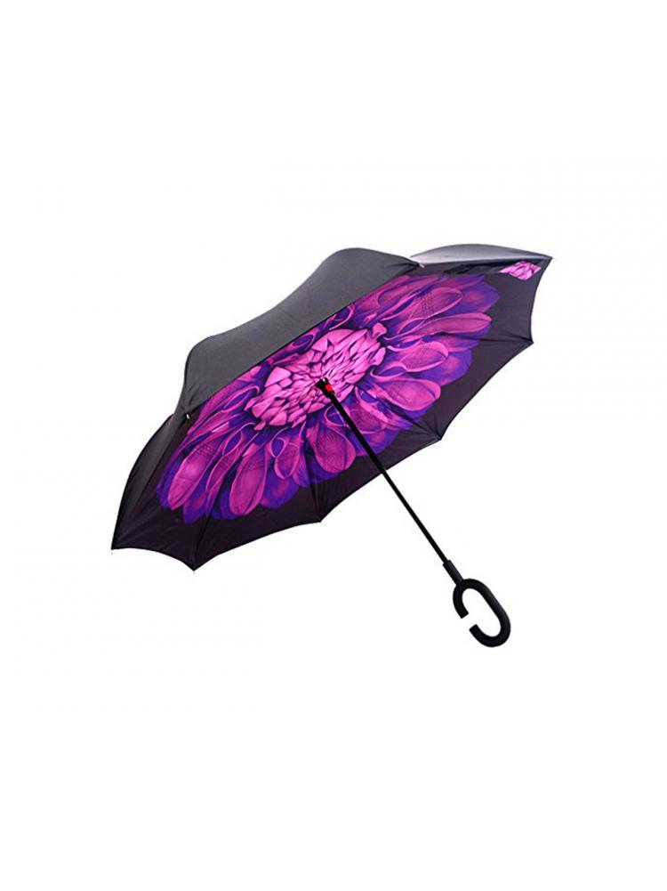 Зонт наоборот (Фиолетовый цветок) UPBRELLA..