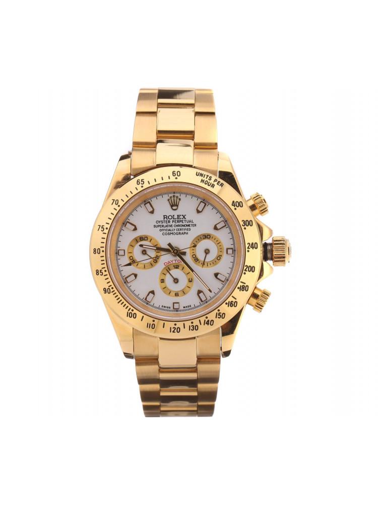 Часы Rolex Daytona золотые, белый циферблат..