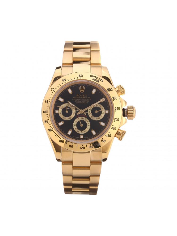 Часы Rolex Daytona золотые, черный циферблат..