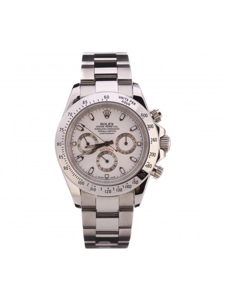 Часы Rolex Daytona серебряные, белый циферблат..