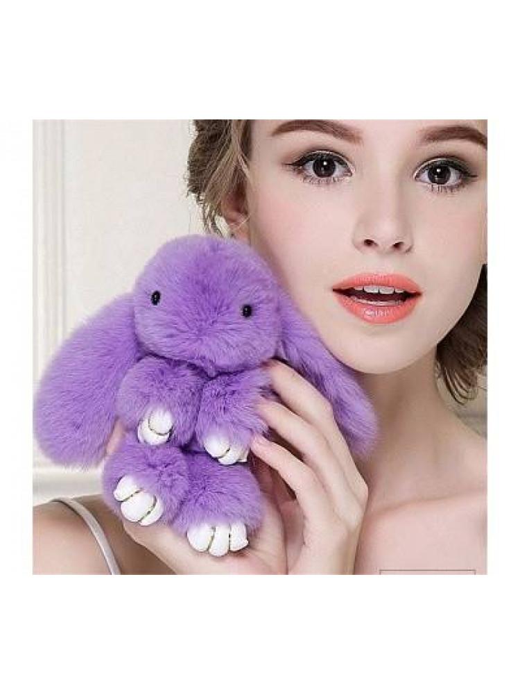 Брелок Меховой кролик цвет фиолетовый..