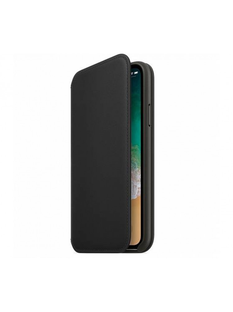 Чехол Apple Leather Folio для iPhone X чёрныи..