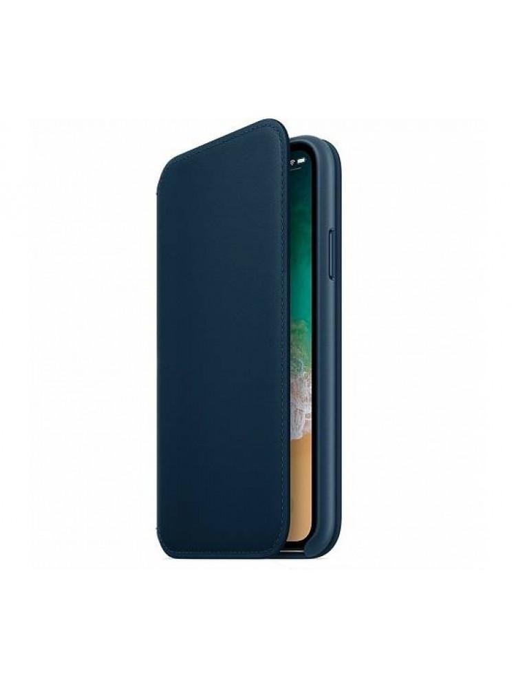 Чехол Apple Leather Folio для iPhone X синий C..