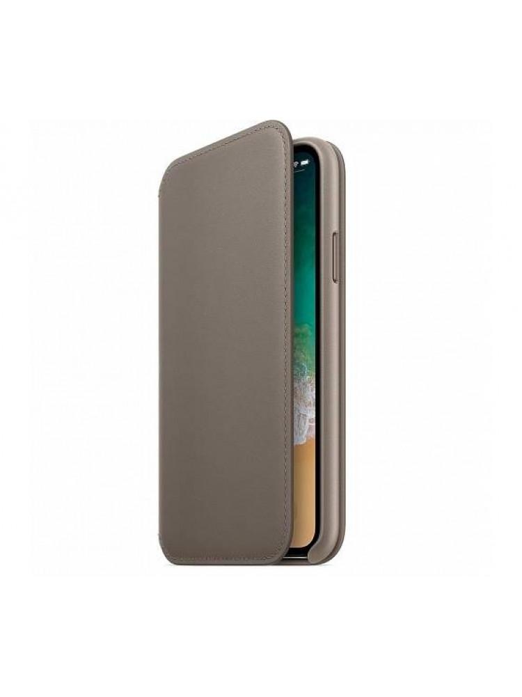 Чехол Apple Leather Folio для iPhone X платино..
