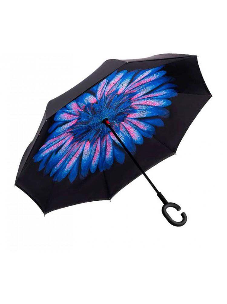 Зонт наоборот (Голубой цветок) UPBRELLA..