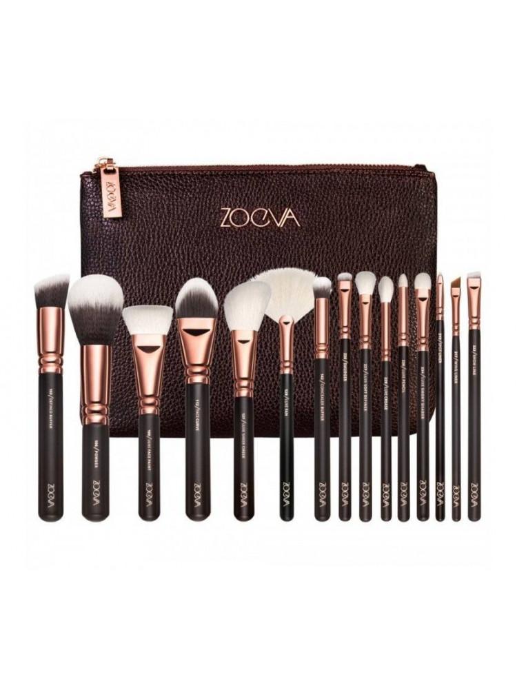 Кисточки для макияжа 15 штук Zoeva brown..