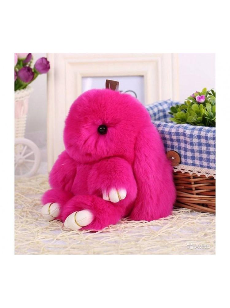 Брелок Меховой кролик цвет розовый..