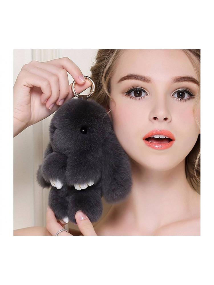 Брелок Меховой кролик цвет черный..