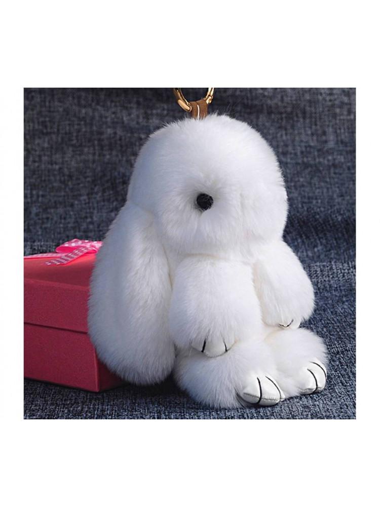 Брелок Меховой кролик цвет белый..