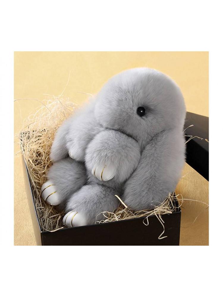 Брелок Меховой кролик цвет серый..