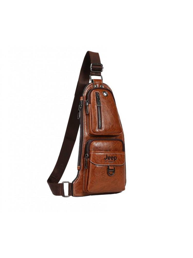 Кожаная мужская сумка Jeep (светло-коричневая)..