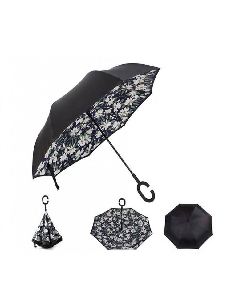 Зонт наоборот (Белые цветы) UPBRELLA..