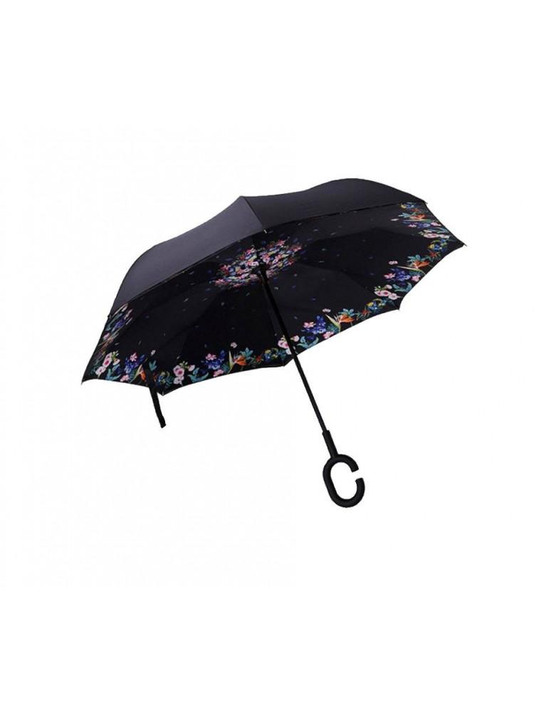 Зонт наоборот (Черный с цветами) UPBRELLA..