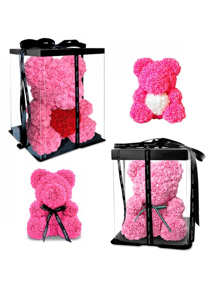 Мишка из роз (25 см / 40 см) в подарочной упак..